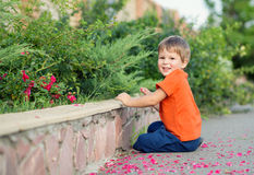 Happy little boy playing with flowers Royalty Free Stock Photos