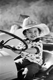 Happy Little Boy Playing on Tractor  Royalty Free Stock Images
