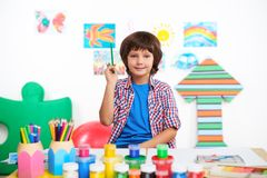 Happy little boy is in preschool center for Stock Photography