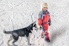 Happy little boy with  puppy dog husky on the snow Stock Image
