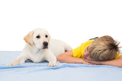 Happy little boy with puppy Stock Photography