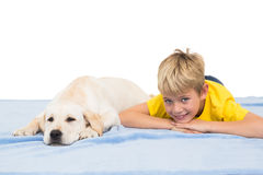 Happy little boy with puppy Royalty Free Stock Photo