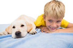 Happy little boy with puppy Royalty Free Stock Photography