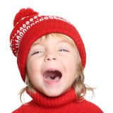 Happy little boy in red hat and sweater Stock Photography
