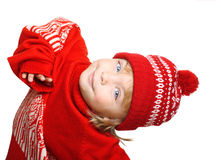 Happy little boy in red hat and sweater Stock Photos