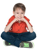 Happy little boy in the red shirt Royalty Free Stock Photo