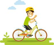 Happy little boy riding bikes isolated on white Stock Photography
