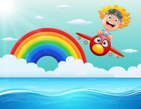 Happy little boy riding a plane above the ocean. Illustration of Happy little boy riding a plane above the ocean Stock Photos
