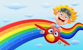 Happy little boy riding a plane in near rainbow. Illustration of Happy little boy riding a plane in near rainbow Royalty Free Stock Images