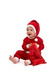 Happy little boy in santa costume Royalty Free Stock Photo
