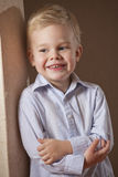 Happy little boy in shirt Royalty Free Stock Photo