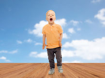 Happy little boy shouting or sneezing Royalty Free Stock Photo