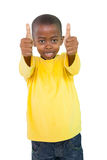 Happy little boy showing thumbs up Stock Images