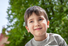 Happy little boy smiling Stock Photo