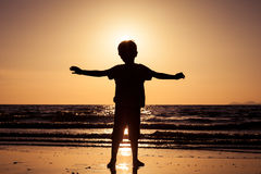 Happy little boy standing on the beach Royalty Free Stock Image