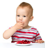 Happy little boy with strawberries Royalty Free Stock Photos