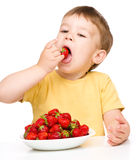 Happy little boy with strawberries Royalty Free Stock Image