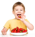 Happy little boy with strawberries Stock Photo