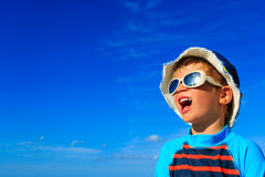 Happy little boy in summer vacation Royalty Free Stock Images