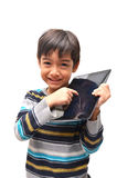 Happy little boy with tablet Royalty Free Stock Photography