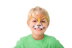 Happy little boy in tiger face paint Royalty Free Stock Image