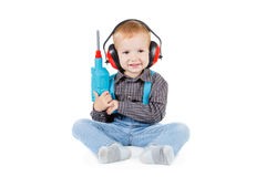 Happy little boy with tools on white background Stock Photos