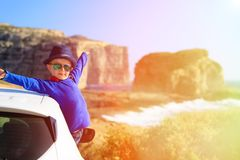 Happy little boy travel by car on summer vacation Royalty Free Stock Photography