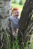 Happy little boy trying to walk by trees Stock Photography