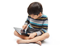 Happy Little Boy Use Tablet Stock Images