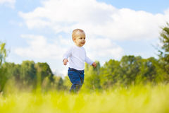 Happy little boy on a walk Stock Images