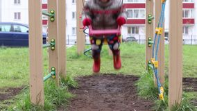 Happy little boy in warm clothes swings on playground stock video footage