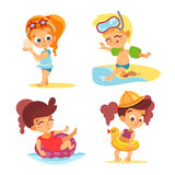 Happy little boys and girls on summer beach. Royalty Free Stock Photo