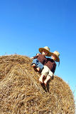 Happy Little Boys Sitting on Big Hay Bale Royalty Free Stock Photo