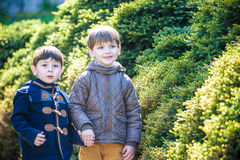 Happy little brothers kids in spring garden with blooming trees, Stock Photo