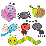 Happy Little Bugs. Collection of cute funny colorful happy little bugs smiling Royalty Free Stock Photos