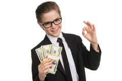 Happy little businessman. Royalty Free Stock Image