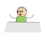 Happy little cartoon business figure. Wearing a headset and sitting at a table waving its arms,  doodle sketch on white Stock Photography