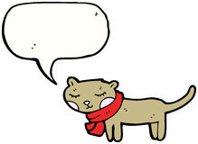 Happy little cat with speech bubble Stock Images