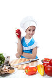 Happy little chef cook with Bell Pepper Royalty Free Stock Image
