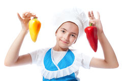 Happy little chef cook with Bell Pepper Stock Photos