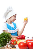 Happy little chef cook with Bell Pepper Stock Images