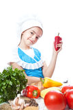 Happy little chef cook with Bell Pepper Stock Photo
