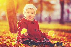 Happy little child, baby girl laughing and playing in autumn. Happy little child, baby girl laughing and playing in the autumn on the nature walk outdoors stock photography