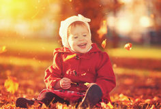 Happy little child, baby girl laughing and playing in autumn Stock Images