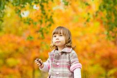 Happy little child, baby girl laughing and playing in the autumn on the nature walk outdoors Royalty Free Stock Photography