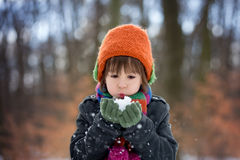 Happy little child, boy, playing outdoors in a snowy park Royalty Free Stock Images