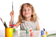 Happy little child draws paint Royalty Free Stock Photography