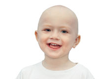 Happy little  child smiles isolated on a white background. Beautiful small  boy cheerful looking and laughs Royalty Free Stock Images