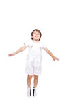 Happy little child in white clothes Royalty Free Stock Images