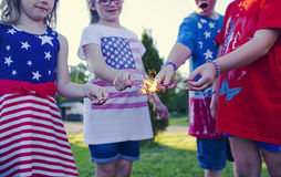 Happy little children celebrating independence day royalty free stock photography